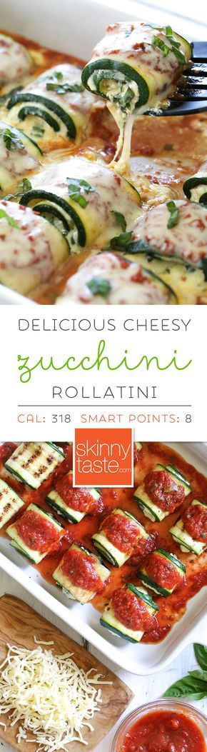 This cheesy, Zucchini Rollatini is a delicious, veggie-loaded dish! Made with strips of grilled zucchini stuffed with a basil-cheese filling, then rolled and topped with marinara, mozzarella and baked in the oven until the cheese is hot and melted.