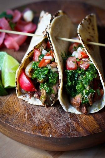 Grilled Steak Taco with Cilantro Chimichurri Sauce - This Recipe Is PERFECT.