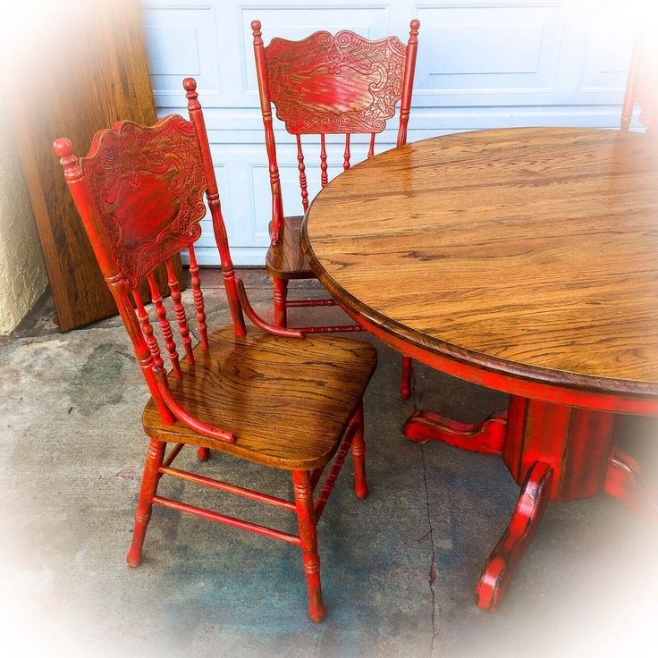 Red, Country Kitchen Table, oak, table and chair set, large, distressed, dining room table, shabby chic, kitchen, table, w/ leaf, farmhouse by ReincarnatedwithLove on Etsy https://www.etsy.com/listing/510777991/red-country-kitchen-table-oak-table-and