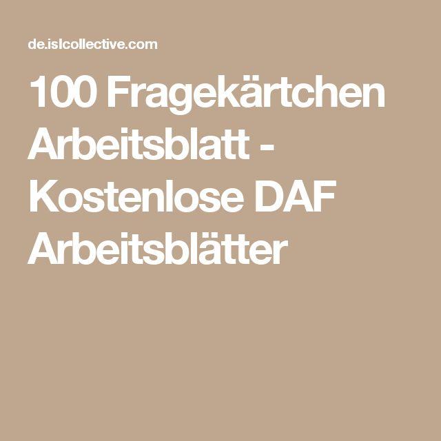 100 Fragekärtchen Arbeitsblatt - Kostenlose DAF Arbeitsblätter