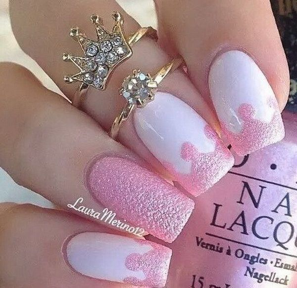 Pink and White Crown Nail Design.