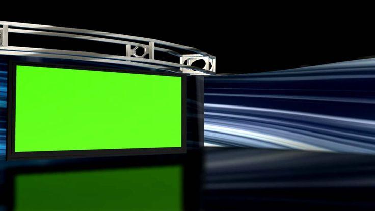 HD Virtual Studio set Background 1 with Green screen TV set