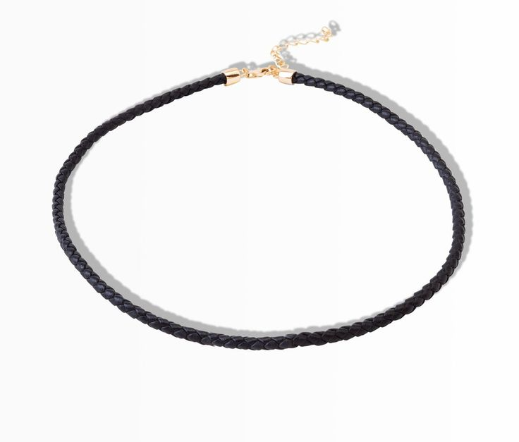 Real leather black choker sterling silver yellow gold plated