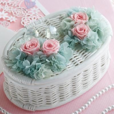 Nice way to alter plain basket - glue pretty handmade fabric or ribbon flowers.