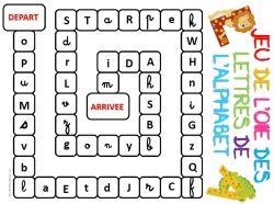 Jeu de l'oie lettres de l'alphabet