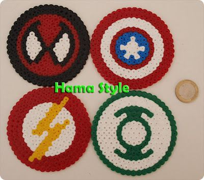 Posavasos de súper hérores - Hama beads                                                                                                                                                                                 Más