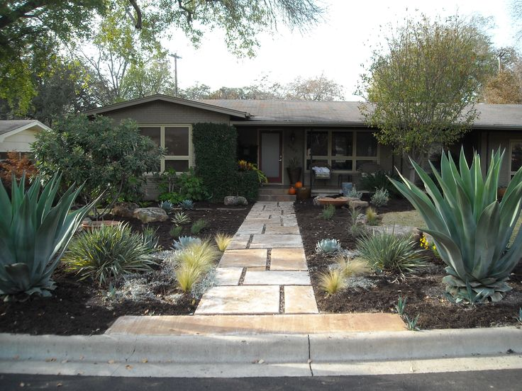 Front yard landscape large custom concrete pavers Large backyard design ideas
