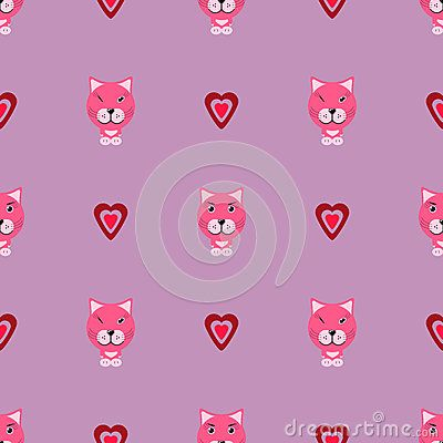 Pink kitty with love and heards vector patterm