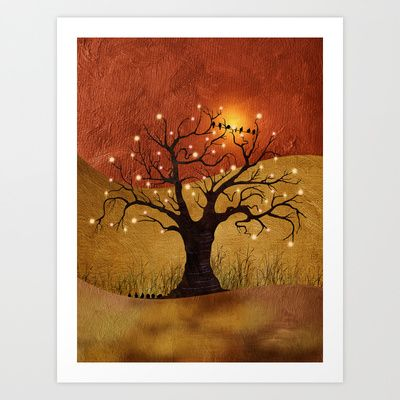 Digital painting of a landscape with a lone tree and lights at sunset.  sunset and lights by Viviana Gonzalez. #artprint