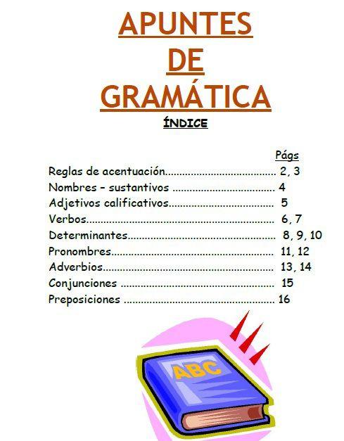 Apuntes realizados por Vicente García que incluyen Sustantivos, adjetivos,verbos, determinantes, pronombres,adverbios, conjunciones, preposiciones y reglas de acentuación. Muy clarito y corto