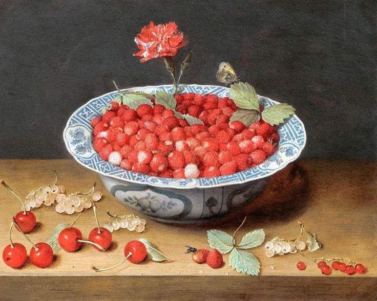 STRAWBERRIES IN A BOWL FRUIT STILL LIFE PAINTING ART REAL CANVAS GICLEE PRINT #Realism