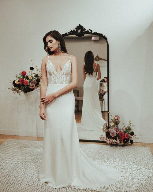 dffc0f13da97 Eloise Sarah Seven Lace wedding dress crepe wedding dress modern wedding  dress