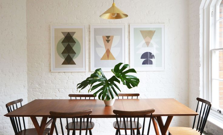Mid Century Dining Table And Graphic Prints   Flat15   west elm