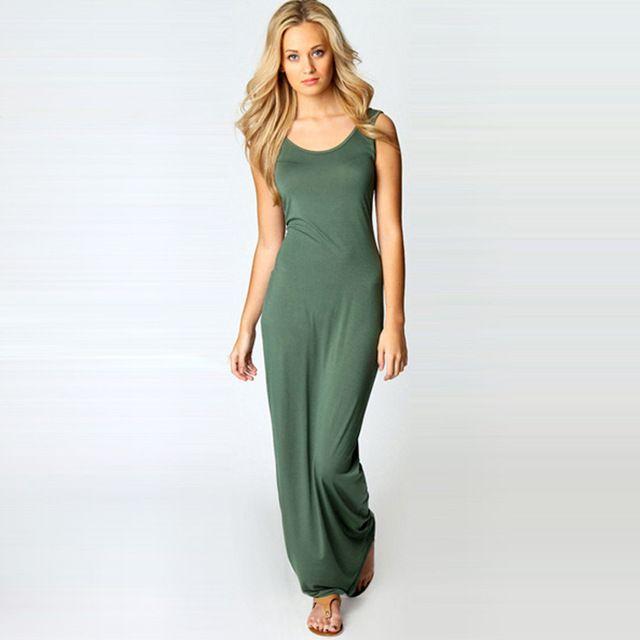 $6.12 - New Sexy Women Long Dress Solid Round Neck Sleeveless Ankle Length Summer Basic Maxi Dress vestidos femininos longos Green