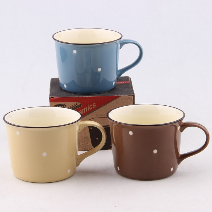 Japanese style zakka polka dot cup enamel glass ceramic milk cup breakfast cup mug-in Mugs from Home & Garden on Aliexpress.com
