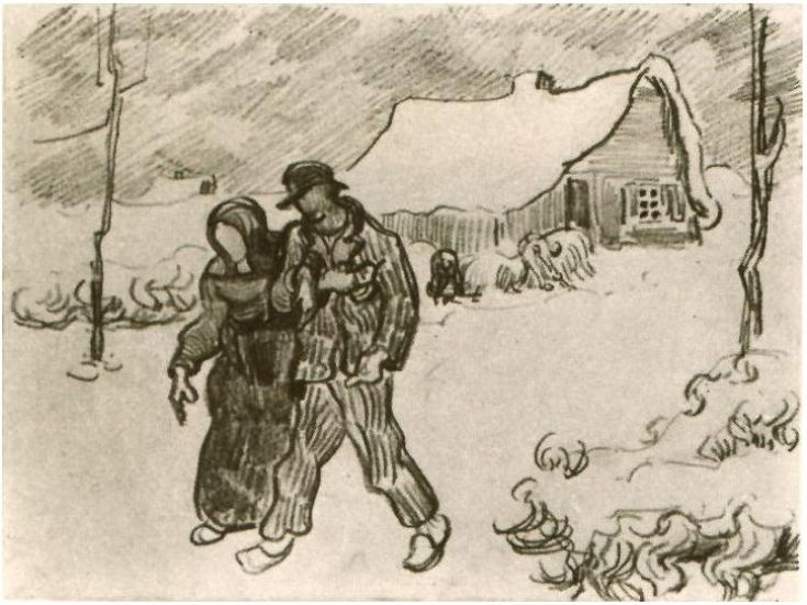 Vincent van Gogh: People Walking in Front of Snow-Covered Cottage.Drawing - Pencil. Saint-Rémy: March - April, 1890 Van Gogh Museum: Amsterdam, The Netherlands.