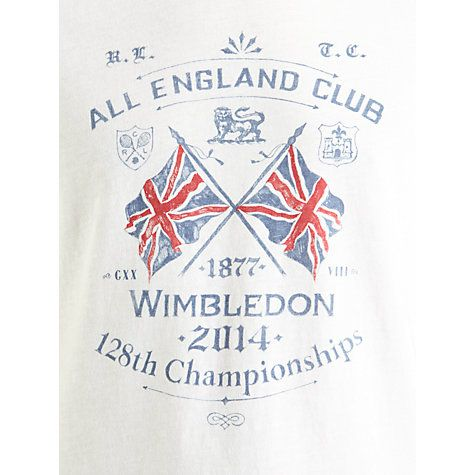 Buy Polo Ralph Lauren Wimbledon Flag T-Shirt, Deckwash White Online at johnlewis.com