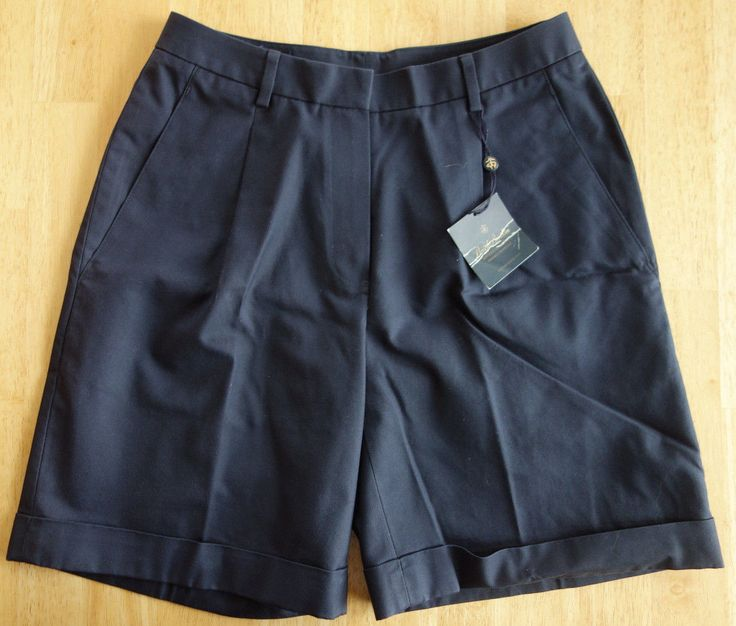 Nwt Brooks Brothers Women's Advantage Chino Navy Blue Shorts Msrp $69.50