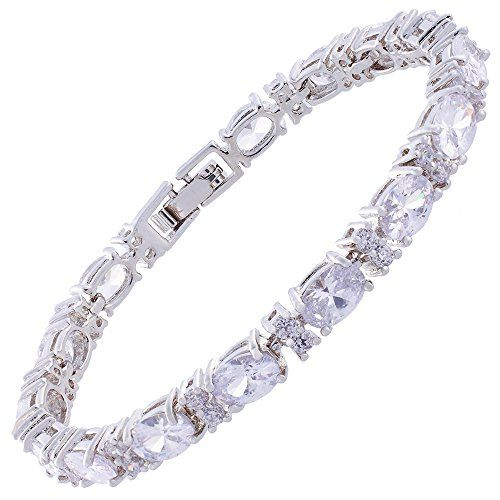 buy now   £44.95   This Eternity Bracelet is beautifully crafted pieces of remarkable elegance. Designs that transcend time.Item size:5mm x 177mmMetal Type:18K White Gold PlatedMain Gemstone Color:White Topaz Color
