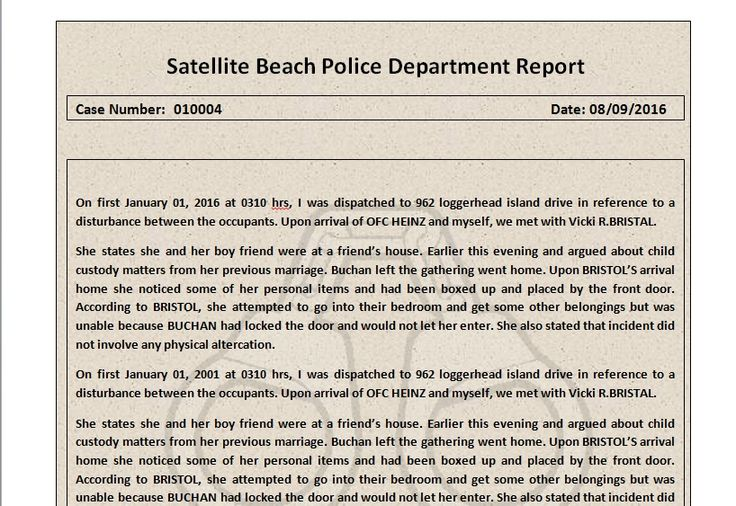 sample of police report template Microsoft word