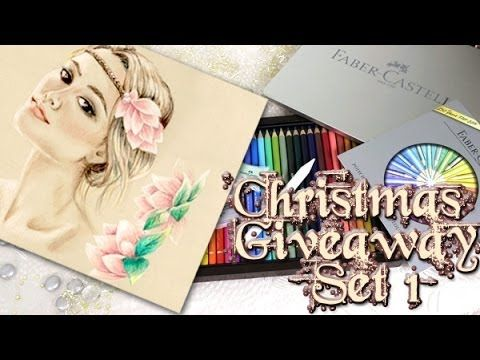 ▶ Christmas Giveaway Set #1/ How to use Polychromos to draw a Headpiece Tutorial - YouTube