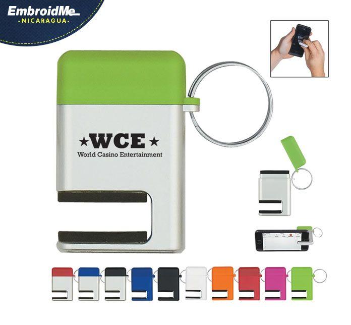 """Llavero/Soporte para teléfono celular/Limpia pantallas  Area de impresión: 1"""" ancho x 5/8"""" alto"""