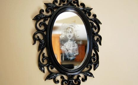 DIY Ghost Mirror with tutorial  | BlogHer    i find big victorian-esque mirrors creepy even without ghosts in them