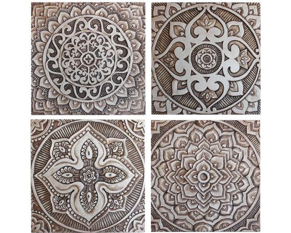 4 Mandala wall art tiles, ceramic - exterior wall art - gvega