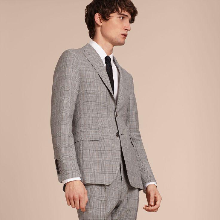 Costume semi-entoilé de coupe slim en laine à motif check Prince de Galles   Burberry