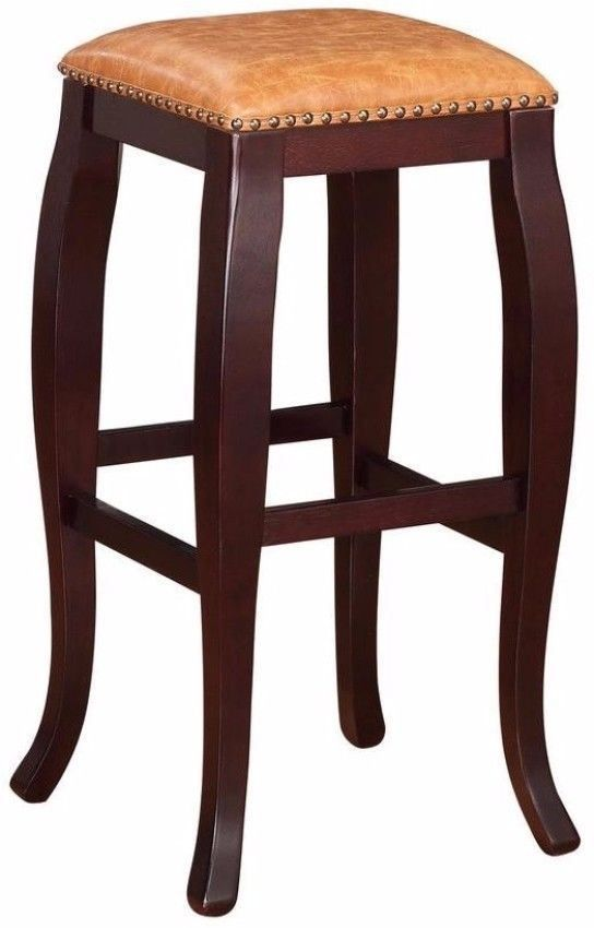 30 Inch Brown Cushioned Seat Bar Stool Wenge Legs Finish Stylish Kitchen Decor #barstool