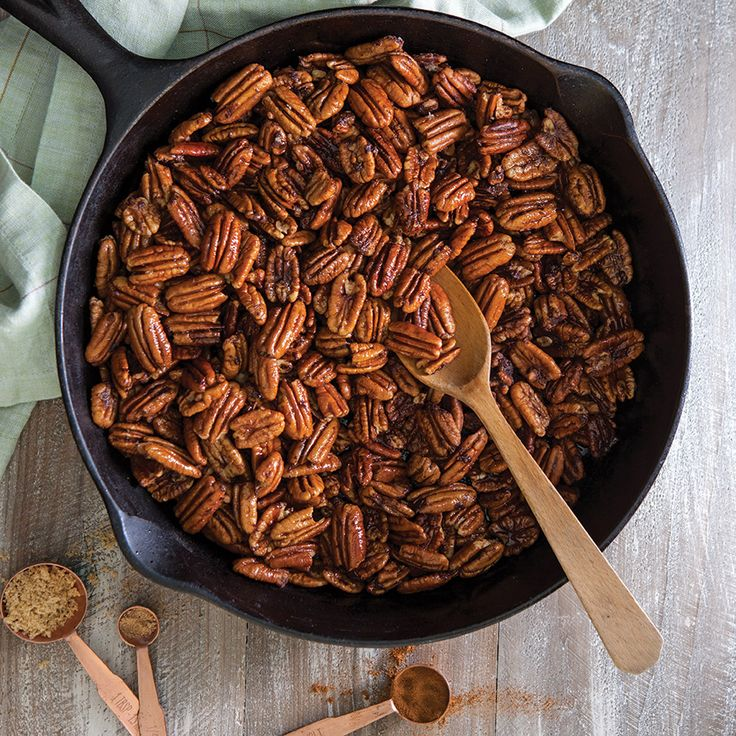 Buttery, sweet, and savory, these skillet-roasted pecans make the perfect snack, appetizer, or delicious add-in or topping for a holiday dessert.