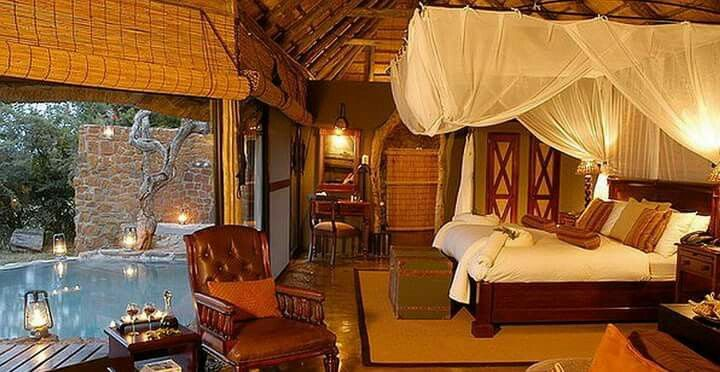 Interesting places to stay in South Africa. Makweti Safari Lodge - Each bijoux stone and thatch chalet has a Victorian bathtub, large indoor and outdoor showers, fireplace and lovely viewing deck with breath-taking views of the bushveld below. Some of the chalets are accessed by a rope bridge which adds to the sense of being in wild Africa, and some have their own private plunge pools......#wildlife #southafrica #photosafari #tourism #extremefrontiers #bush #adventure #holiday #vacation…
