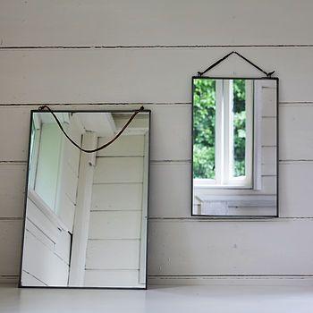Antique zinc mirror, hanging