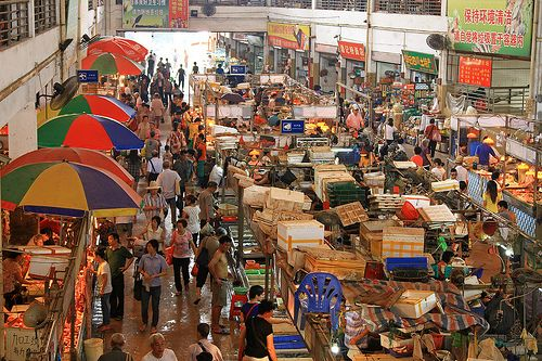 A wet market in Guangzhou, China.  If you visit a wet market in China, be prepared to see the odd market-stall, selling crocodile or turtles...