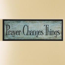 "True Words, Prayer Changes Things Art Piece   athome.com/brandijonesstables  Light blue calming art piece creates a sanctuary in any room. 183⁄4""w x 1⁄2""d x 65⁄8""h"