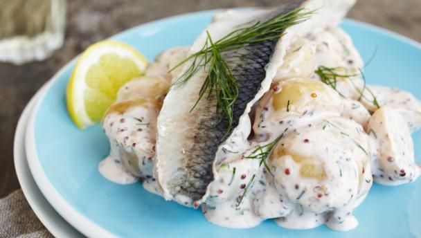 Herring with mustard, dill and potatoes is a Scandinavian favourite. This one has an unusual kick of curry powder.