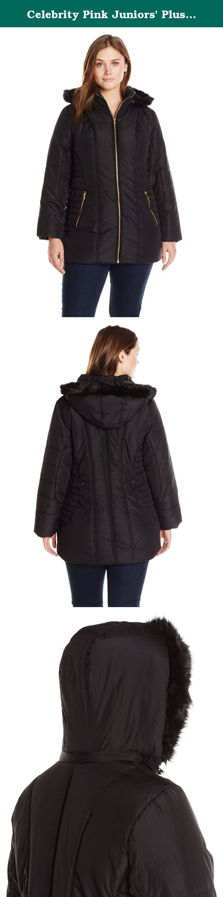 Celebrity Pink Juniors' Plus-Size Puffer Jacket with Faux Fur HoodJuniors' Plus, Black, 1X. Juniors plus size walker length fitted polyfill puffer coat.