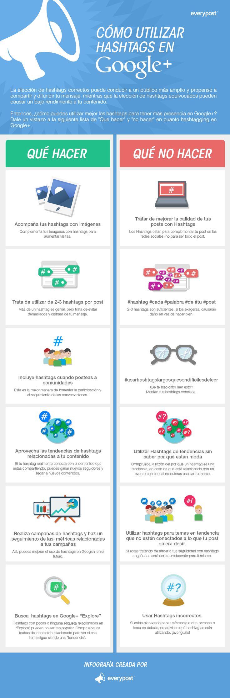 Uso de los hashtags en Google + #infografia