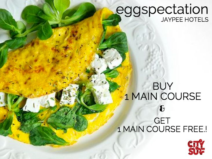 Are you an EGG LOVER ? If you are then EGGSPECTATION, Delhi NCR is the perfect place to be on this weekend..! Buy 1 Main Course & Get 1 Main Course FREE..!  That's not all- if you buy the City Surf BOGO - Buy 1 Get 1 Free Offers Voucher Book, you get access to 500 Buy 1 Get 1 Free offers at over 200 best places in Delhi NCR including Spas & fitness centers, valid for an entire year!  So hurry book your copy of City Surf today Click Here--> www.citysurf.in #discount #coupon