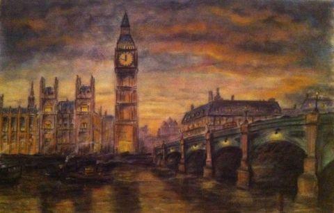 KisKlaudi - #London napnyugtakor, Képzőművészet , Nászajándék, Pasztell, Festmény, #sunset #Londres #pastel #picture