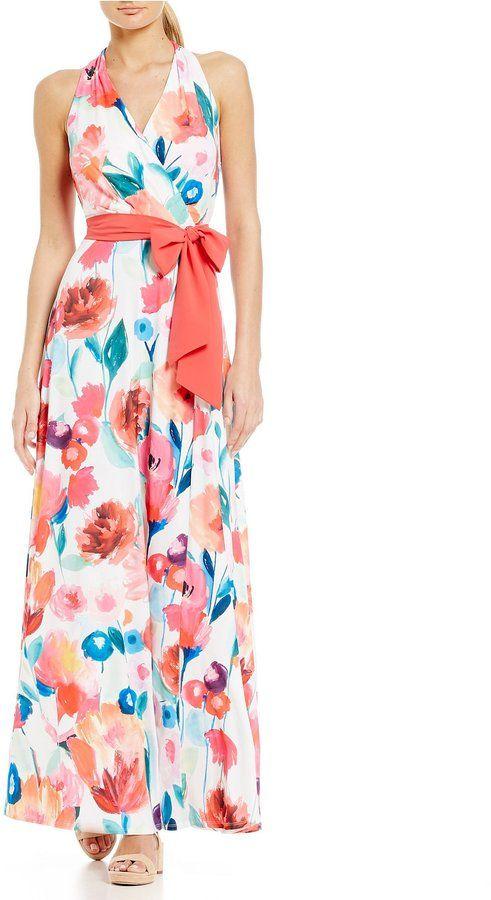 Leslie Fay Floral Halter Maxi Dress