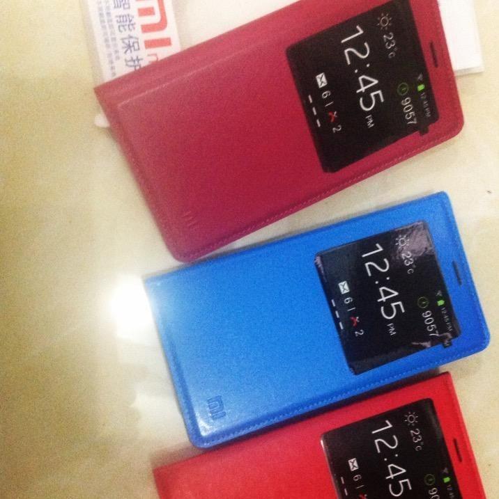 Leathercase S-View Xiaomi Redmi Note untuk instalasi copot penutup batre terlebih dulu