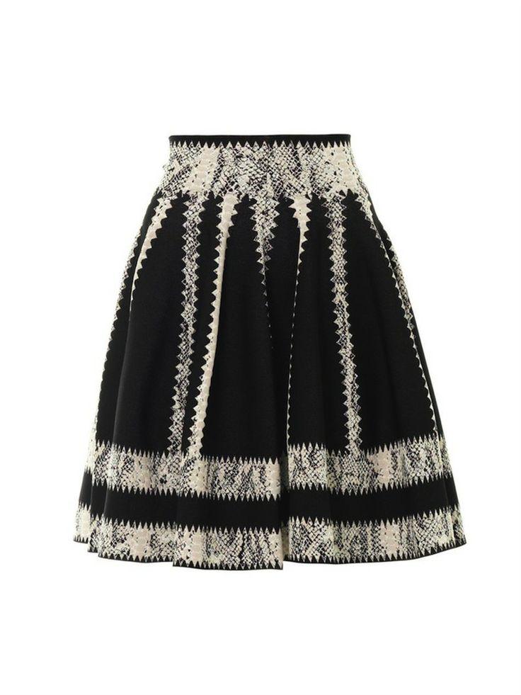 Black Striped Jacquard Skater Skirt