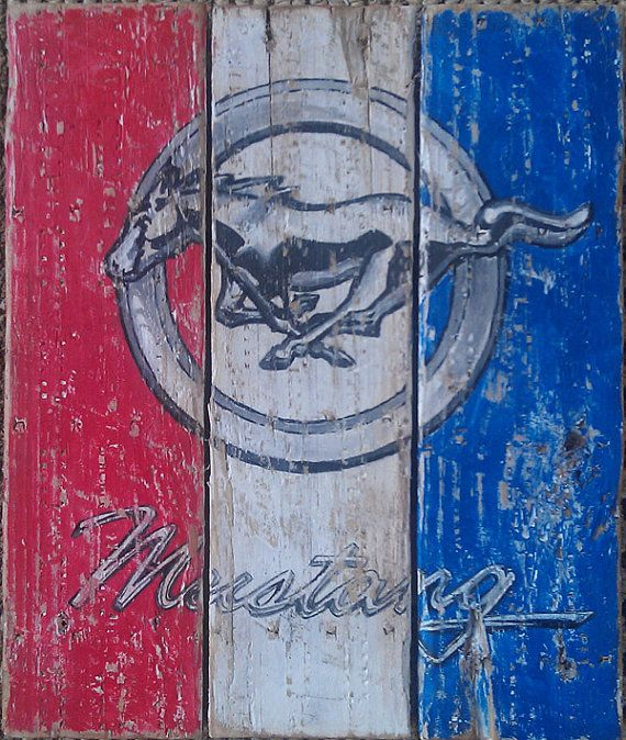 TAKING ORDERS---Mustang, Vintage looking pallet wood, hand made, hand painted sign on Etsy, $58.00