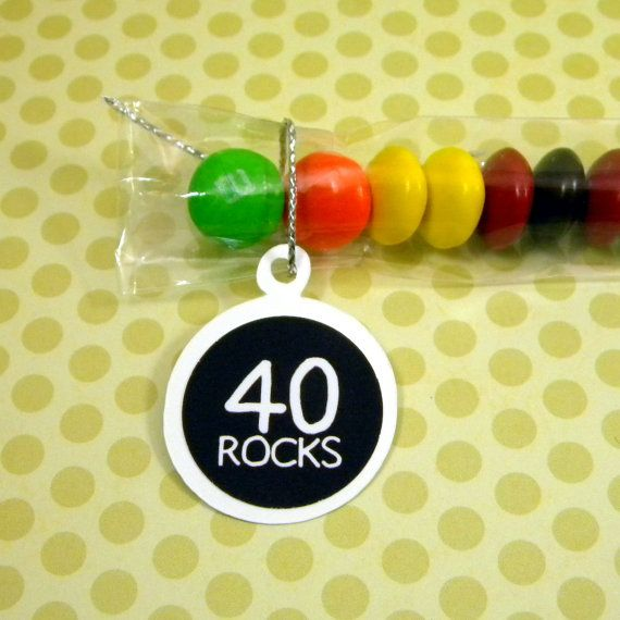 """Liked the idea of the """"40 blows"""" with suckers but LOVE the idea of """"40 ROCKS"""" with M&M;'s~Tina's favorite!"""