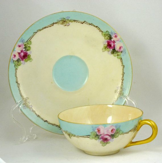 Limoges Signed Tea Cup and Saucer Decorated with Roses