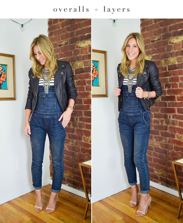 what tops to wear with overalls, how to style overalls, overalls outift, leather jacket and overalls, how to dress up overalls