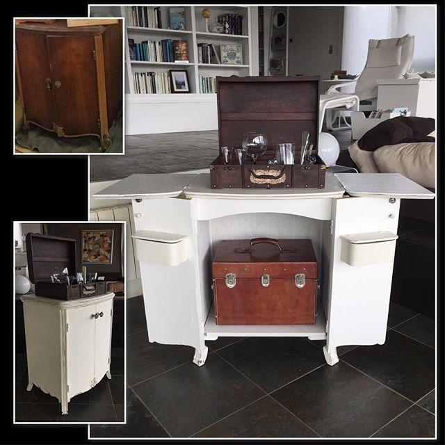Antiguo mueble de máquina de coser restaurado y convertido