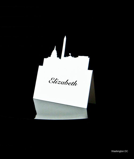 Washington DC - Place Card - Wedding Place Cards - City Skyline - PlaceCard - Place Cards - Escort - Rustic Wedding - set of 100