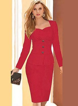 Polyester Tartan Long Sleeve Knee-Length Elegant Dresses (1000371) @ floryday.com